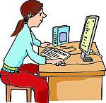Mädchen-Computer